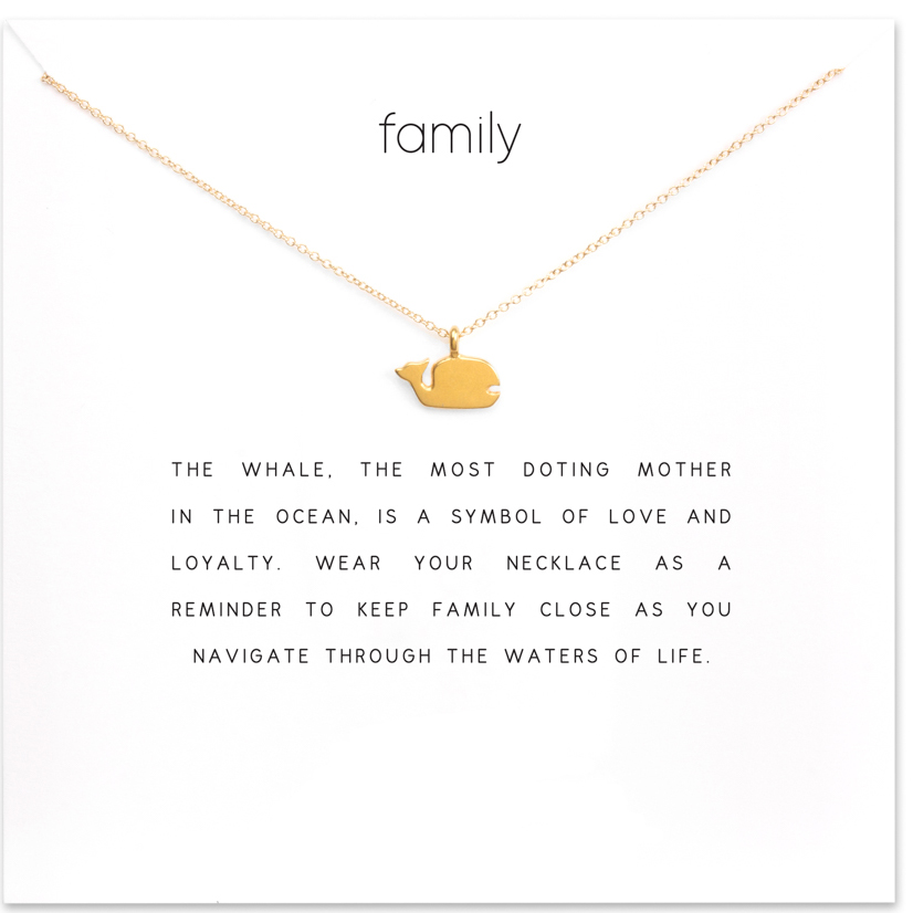Sparkling Family Whale Necklace Gold Dipped Pendant Necklaces