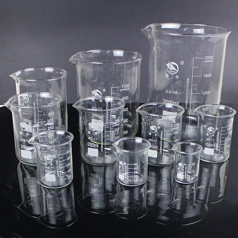 Image 2 - 5ml 3000ml GG 17 Borosilicate Glass Beaker High temperature resistance Beaker Laboratory Equipment Glassware School SuppliesBeaker   -