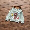 2016 осень и зима новый девушки случайные мультфильм печати Флис пуловеры одежда для babys милый медвежонок