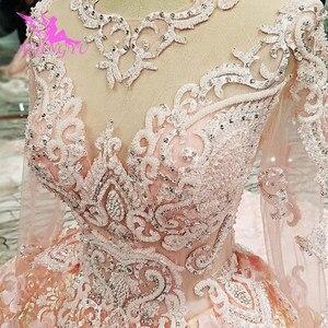Image 1 - AIJINGYU 2021 lüks kristal köpüklü elmas prenses yeni sıcak satış elbisesi v yaka resmi gelin elbiseler düğün elbisesi WT122