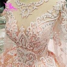 AIJINGYU 2021 الفاخرة الكريستال تألق الماس الأميرة جديد حار بيع ثوب الخامس الرقبة فساتين العروس الرسمية فستان الزفاف WT122