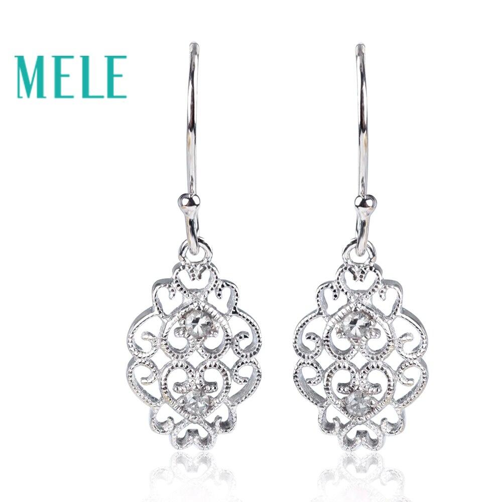 MELE Новое поступление классический стиль алмаз серьги для женщин, 925 серебро с 1,8 мм 0.04X4ct круглой огранки алмаз подарок