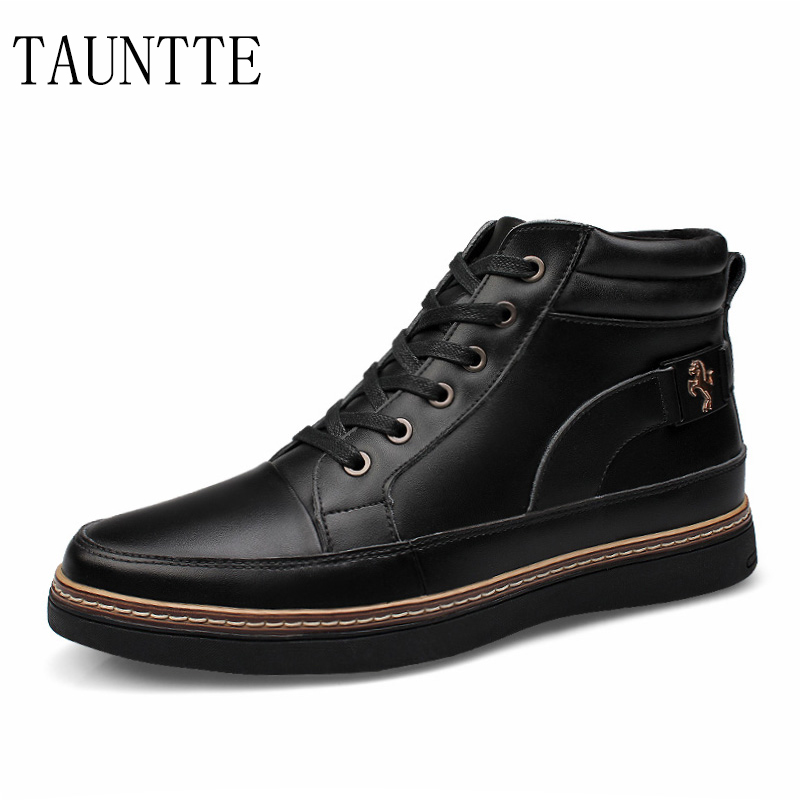 Autumn and winter keep warm men boots fashion lace up genuine leather ankle boots with fur