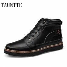 Tauntte Осенне-зимняя обувь теплые мужские ботинки модные на шнуровке ботильоны на меху из натуральной кожи с мехом