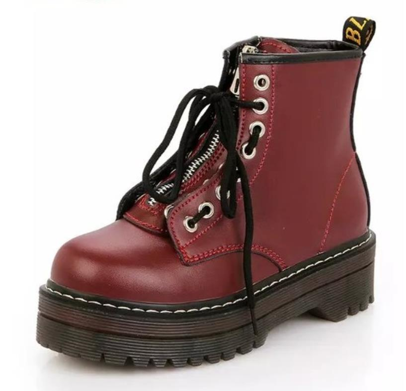 Vintage British wind college Oxford high-top thick Martin boots sponge zipper tie high tube boots children boots