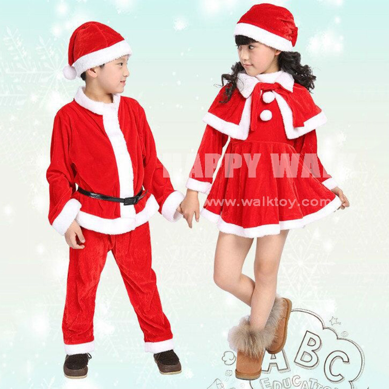 Free Shipping 2019 New Christmas Decoration Santa Claus Children Boys And Girls Dress Costume Performance Clothing Show Suits