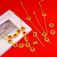 Ethiopian African Wedding New Cross Necklace Earrings Ring Bracelet Hairpin Hair Chain Accessory Jewelry Sets