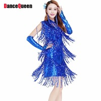 Sexy Lady Evening Cocktail Party Dance Club Latin Fringe Bling Sequin Dress Gold Tassel Tango Skits