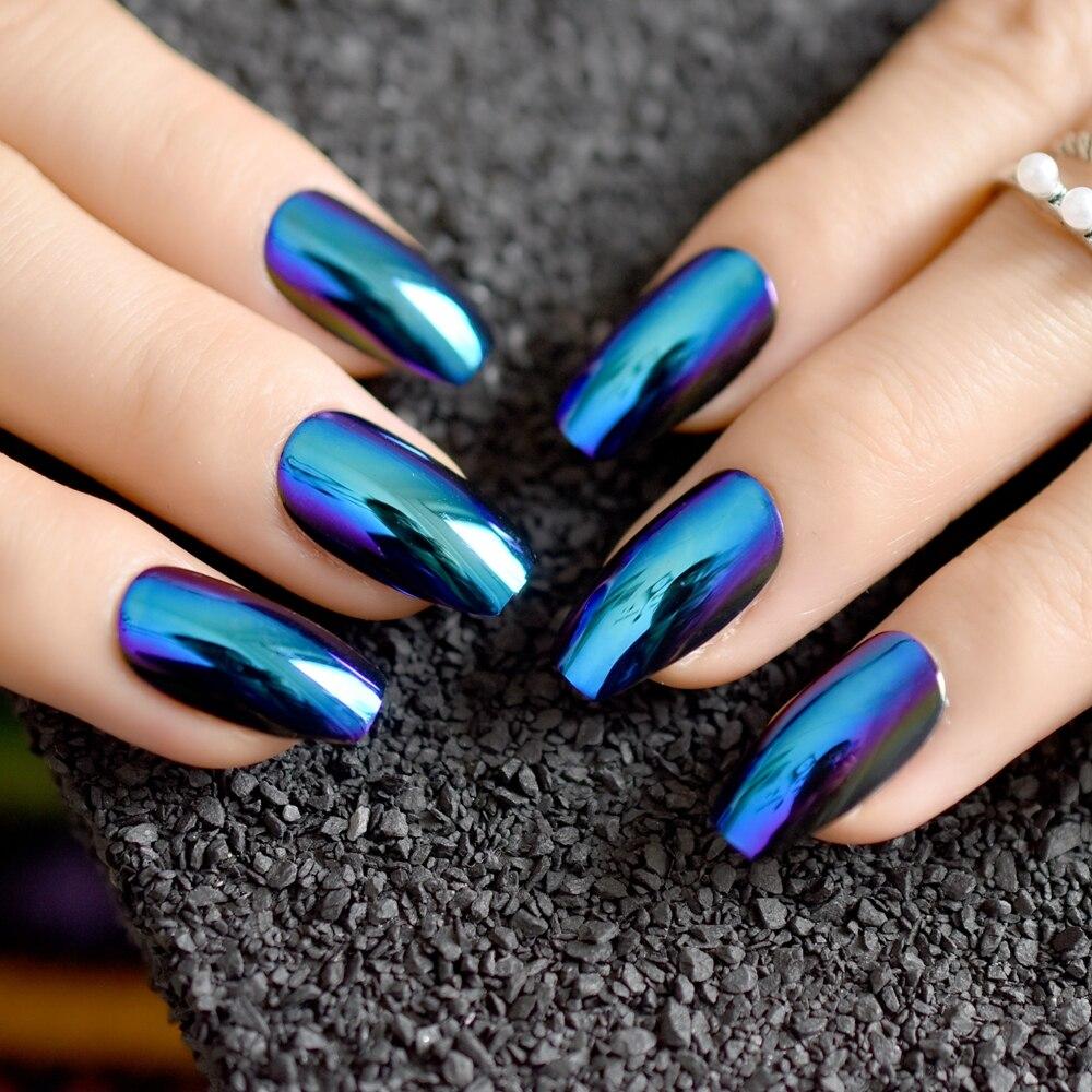 Super Holographice Coffin Nails Mirror Blue Chrome Sparkly Ballerina ...