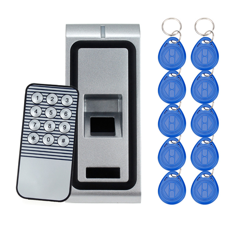 Metal Fingerprint Access Control Biometric Finger Scanner with Remote Control Keypad for Door Lock Safe System+10pcs RFID Tags fs28 biometric fingerprint access control machine electric reader scanner sensor code system for door lock