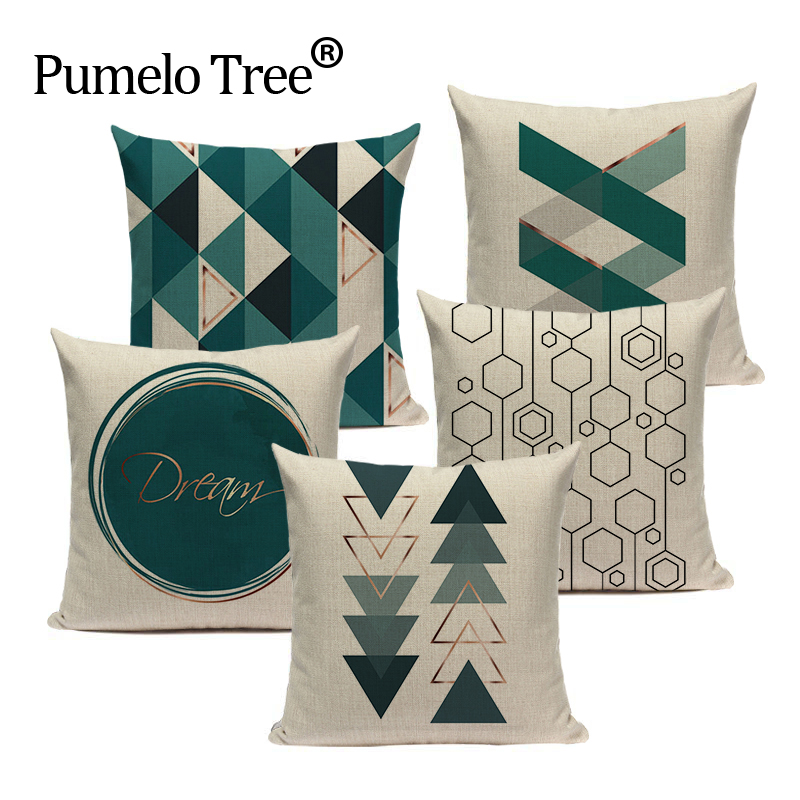 Farmhouse Geometric Cushion Covers Green White Pillow Cases On The Pillows Decorative Custom High Quality Sofa Cushion Cover Car