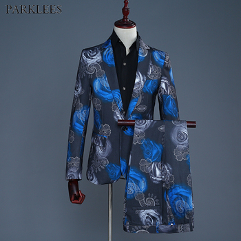 Royal Blue Rose Floral Print One Button Suit Men Slim Fit Wedding Groom Stylish Suit With Pants Mens Party Stage Terno Masculino