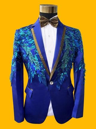 performance Luxe Et Bowtie Avec stade Paillettes Broderie Réel Pantalon événement Smoking Bleu veste Costume Royal De Mens 100 qTx4aP