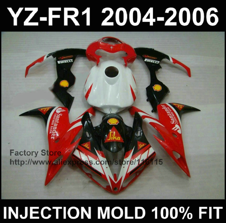 Sika red white fairing parts for YAMAHA YZF R1 2004 2005 2006 100% Injection mold fairings yzf r1 04 05 06 custom