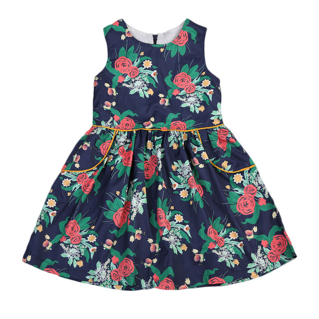 93947740c99d Little Girls Retro Style Rose Flower Dress Toddler Kids Baby Girl ...