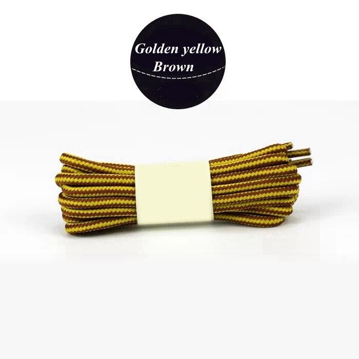 1 пара колготок в полоску двойной Цвет шнурки ботинки на открытом воздухе спортивные шнурки хлопок Круглые Шнурки 18 Цвета Длина 70 см, 90 см, 120 см 150 см - Цвет: Golden yellow brown