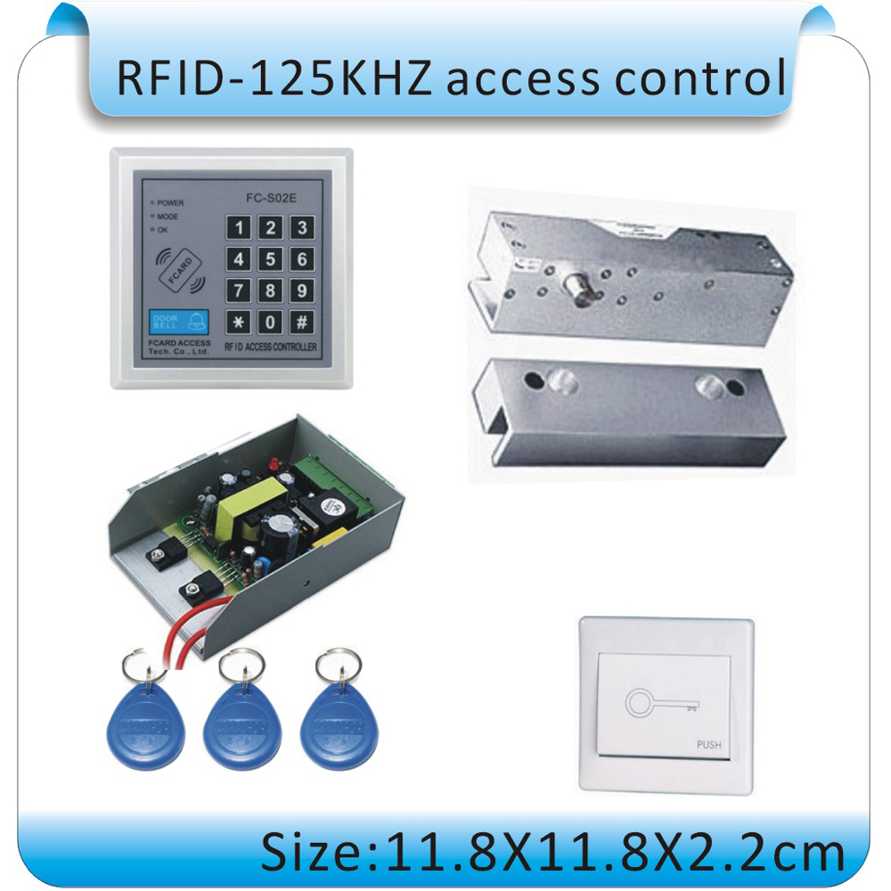 Free shipping DIY Glass door RFID 125KHZ access control+passware /electric lock +power supply+ switch+10pcs key cards