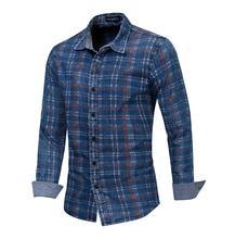 Men Printed Shirt 100% Cotton Long Sleeved Plaid Male Social Business Dress Leisure Shirts Fredd Marshall K1090