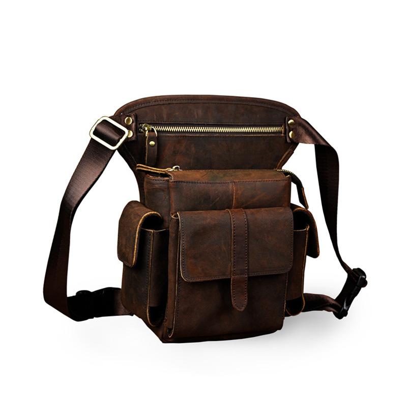 100% Genuine Leather Waist Leg Bag Shoulder Men Vintage Rider Travel Hip Belt Bags Purse Real Cowhide Shoulder Pack High Quality vintage bags real genuine leather cowhide men waist pack pouch for men leather waist bag outdoor travle belt wallets vp j7144