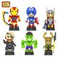 El capitán américa avengers mini bloques de construcción loz diamante nano bloque hulk iron man thor loki juguetes niños de juguete para niños