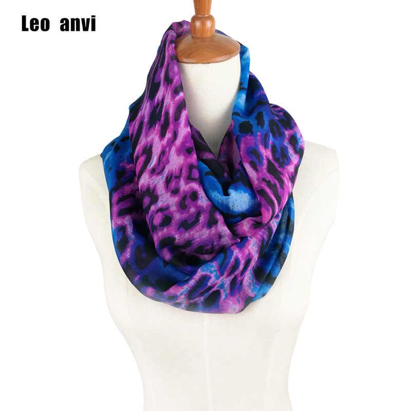 9de81293d1528 Leo anvi Design Animal Leopard Scarves Chiffon Silk ring Scarf Women Print  Cachecol Brand Infinity Scarf