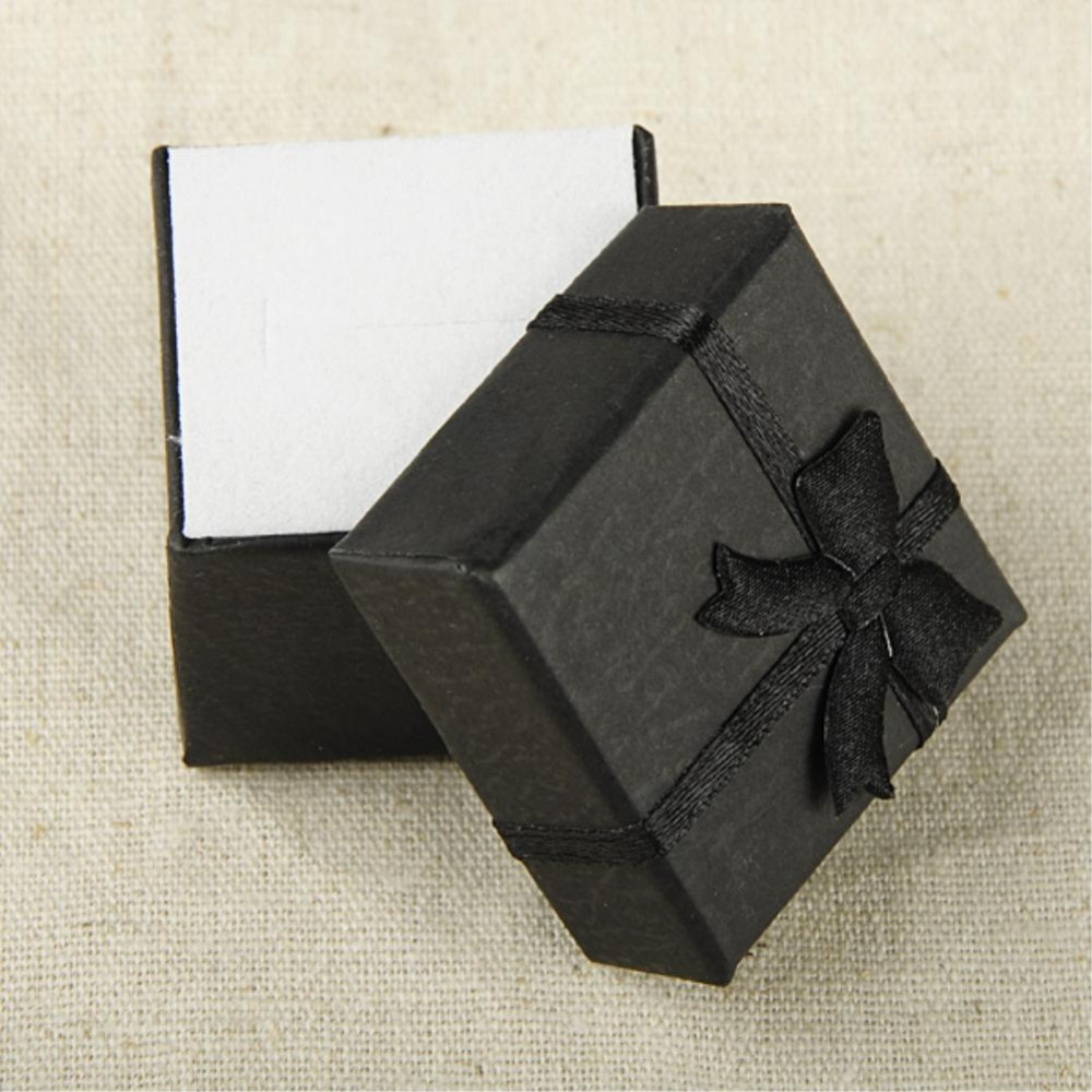 24pcs/lot 4*4*3cm jewelry earring bracelet ring gift boxes black square carton bow case Assorted color 10 candy colors