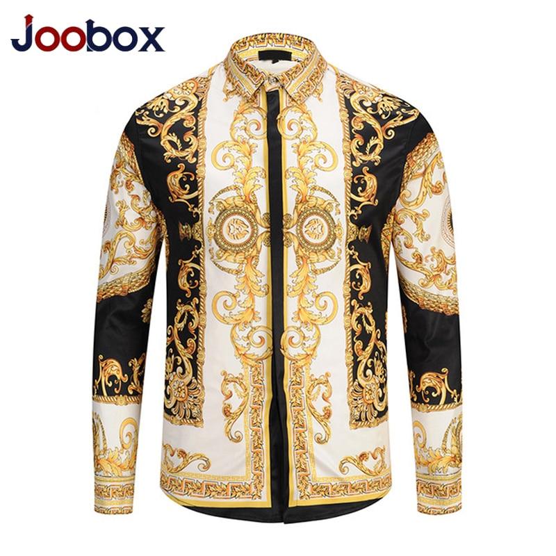Luxe 2019 hommes Chemise en or nouveau 3D imprimer Palace Chemise à manches longues Masculina Social Chemise Homme mode chemises camisa hombre xxl