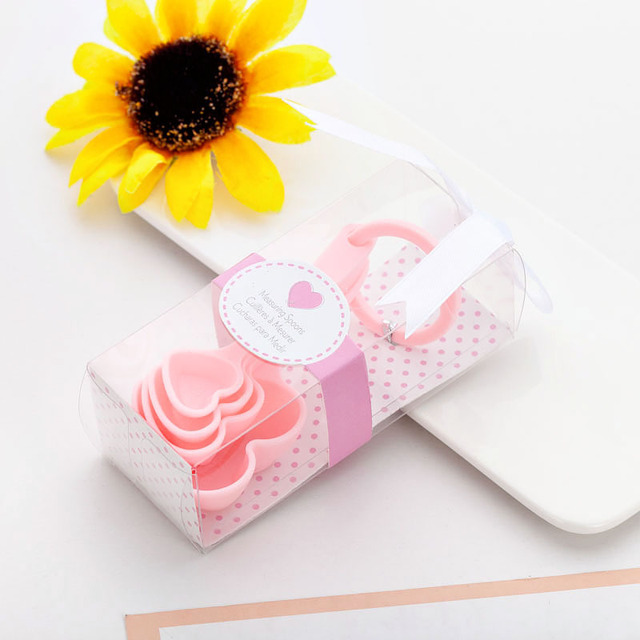 (4Pcs/Lot=1Boxes) Adorable Heart Baby souvenirs of Love Measuring Spoon Favors for Baby Shower favors and birthday Party gift 8