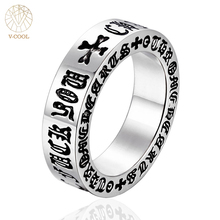 VCOOL Om Mani Padme Religion Tibetan Female Buddhism Jewelry Motorcycle Ring 316L Stainless Steel Men Biker Charm Bicycle Rings