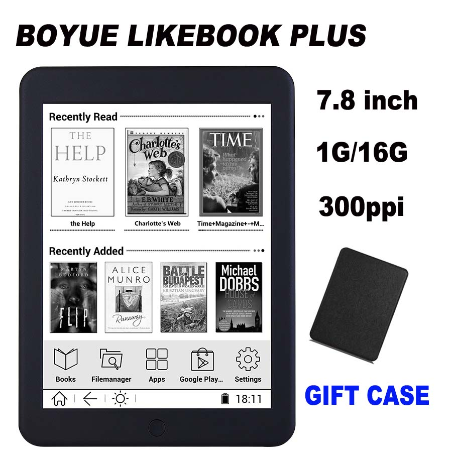 Boyue likebook plus ebook reader 7.8″ touch screen 300ppi 1G/16GB online reading 2800mAh wifi bluethoth transfer e-book ereader