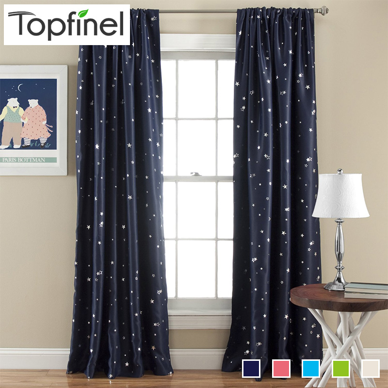Top Finel Better Modern Star Cortinas para niños Kid Baby Room 100% poliéster Hipoalergénico suave Sala Darking 85% Blackout