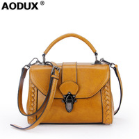 AODUX Fashion 2018 Small Genuine Leather Women's Messenger Shoulder Bags Ladies Oil Wax Cow Leather Tote Female Designer Bag