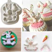 Easter Bunny Silicone Moulds Fondant Cake Molds Cupcake Baking Tools Confeitaria Chocolate Mold Kitchen Accessories XL140