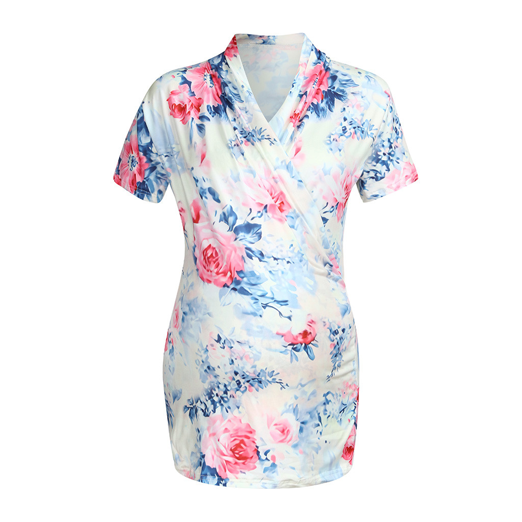 Pregnancy & Maternity Confident Womens Pregnant Women V-neck Shirt Printing Short-sleeved Shirt Ladies Breastfeeding Fashion Print Shirt Pregnant Womens Shirt Activating Blood Circulation And Strengthening Sinews And Bones