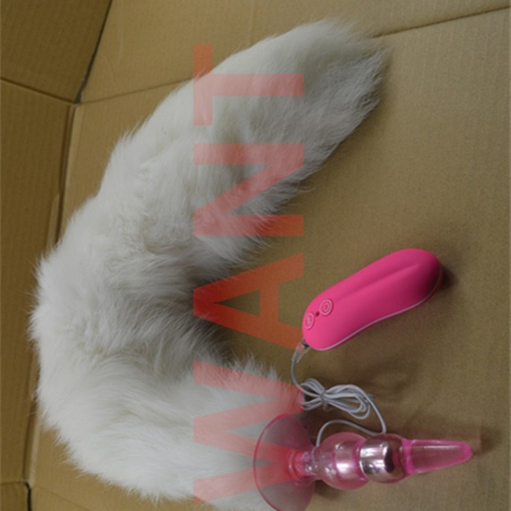 White Fox Tail Anal Butt Plug In Adult Games , 10 Speed Anus Beads Vibrator Erotic Sex Products Flirting Toys For Women multi speed vibrating anal beads butt plug in adult games for couples erotic anus pleasure sex products toys for women and men