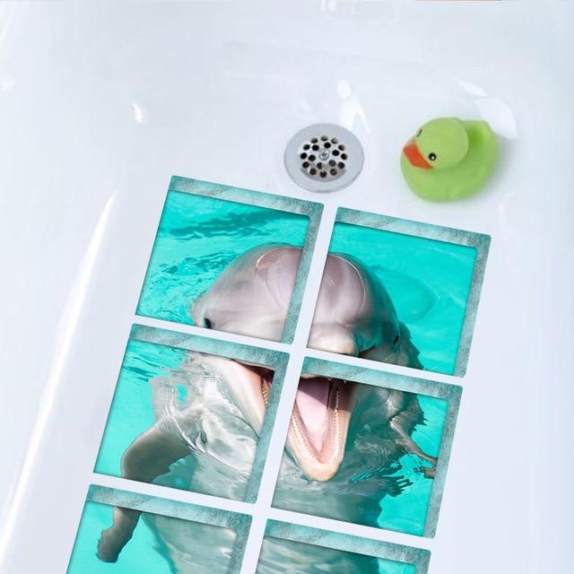 Funlife 3D Vasca Da Bagno Adesivi, Anti-Skid antiscivolo Doccia Tappetini Da Bagno, carino Dolphin Bagno Sticker Per I Bambini, Impermeabile Vasca Da Bagno Decalcomanie