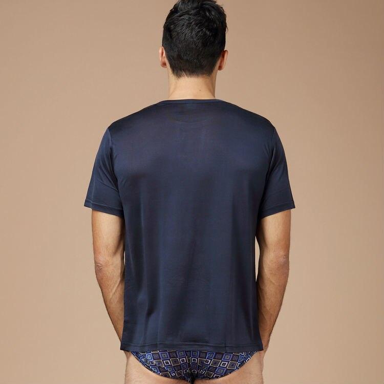 Herren basic t shirt 100% naturseide feste hemd kurzarm top Herren - Herrenbekleidung - Foto 4