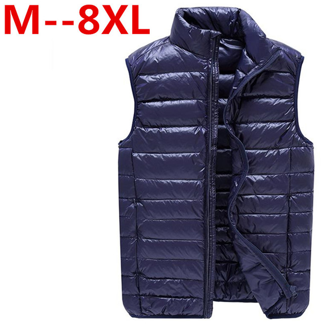 8XL Duck Down Vest Men Ultra Light Double Sided Zipper Puff Gilet Casual Reversible Vests Jackets Sleeveless Waistcoat Jackets