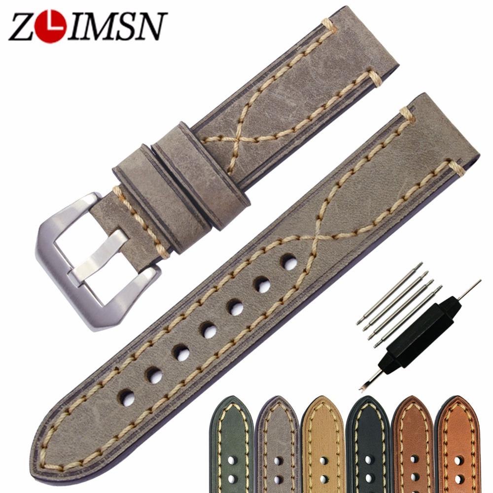 Prix pour ZLIMSN Universel Bracelets En Cuir Véritable Bracelet De Montre 20mm 22mm 24mm 26mm Boucle En Métal Montres Accessoires relogio masculino