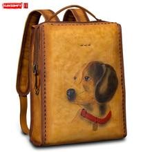 Prawdziwa skóra Retro mężczyźni plecak ręcznie torba na ramię kobiety ręcznie malowane zwierzę plecaki duża pojemność wypoczynek proste torby