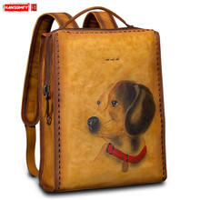 Retro Genuine Leather Men Backpack Handmade Shoulder Bag Women Hand painted Animal Backpacks Large capacity Leisure Simple Bags
