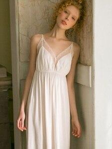 Image 5 - Sexy Modal V neck White Lace Nightgowns Womens White Cotton Sleeveless Sleepwear Loose Nightwear