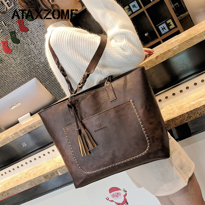ATAXZOME Big Bags for Women 2018 Fashion Designer Bag PU Large Capacity Shoulder Handbags Luxury Shopping Tote female Tassel Bag цена 2017