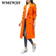 WMSWJH Women Windbreaker 2017 Spring Autumn New Fashion Lapel Double-breasted Mid Long Section Temperament Slim Wind Coat WS152
