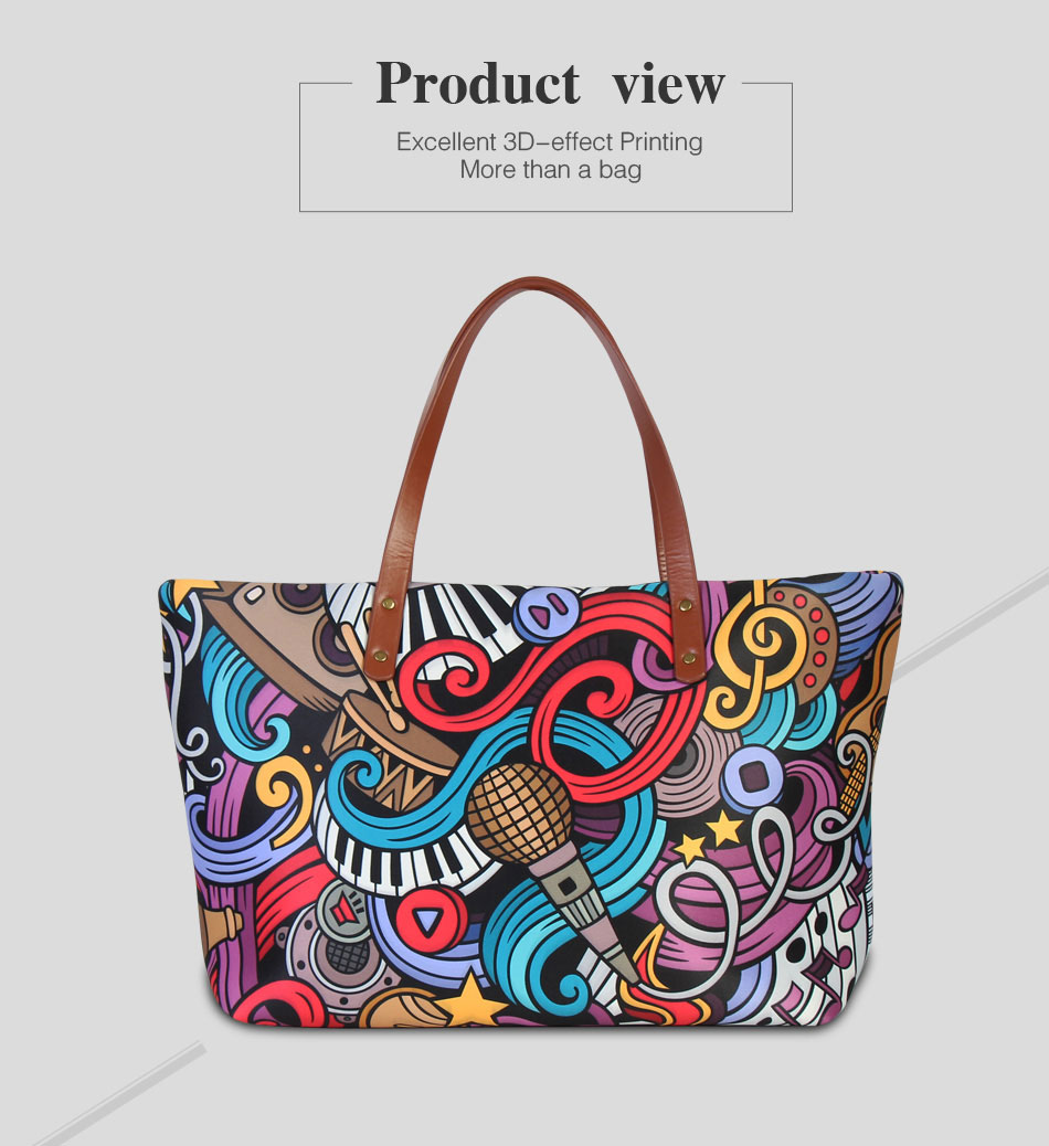 19664b74340d Dispalang Zipper Shoulder Handbag For Women Printed Tote Bags Fancy ...