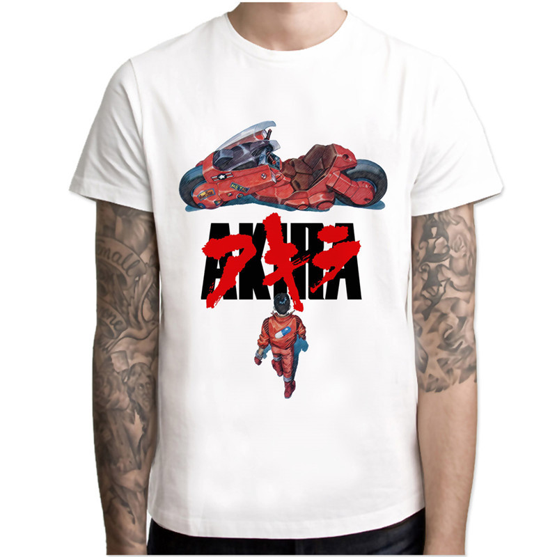 akira T Shirt men Summer fashion High Quality  t-shirt casual white print O-Neck print male men top tees