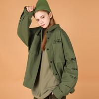 hip hop army green blouse women plus size streetwear shirt youth pop coat Korean Style woman top chemisier black 2019 girl