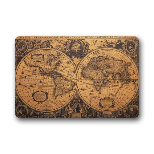 Garden Decor Nutty Rug: Custom Machine Washable Door Mat Old Vintage World Map