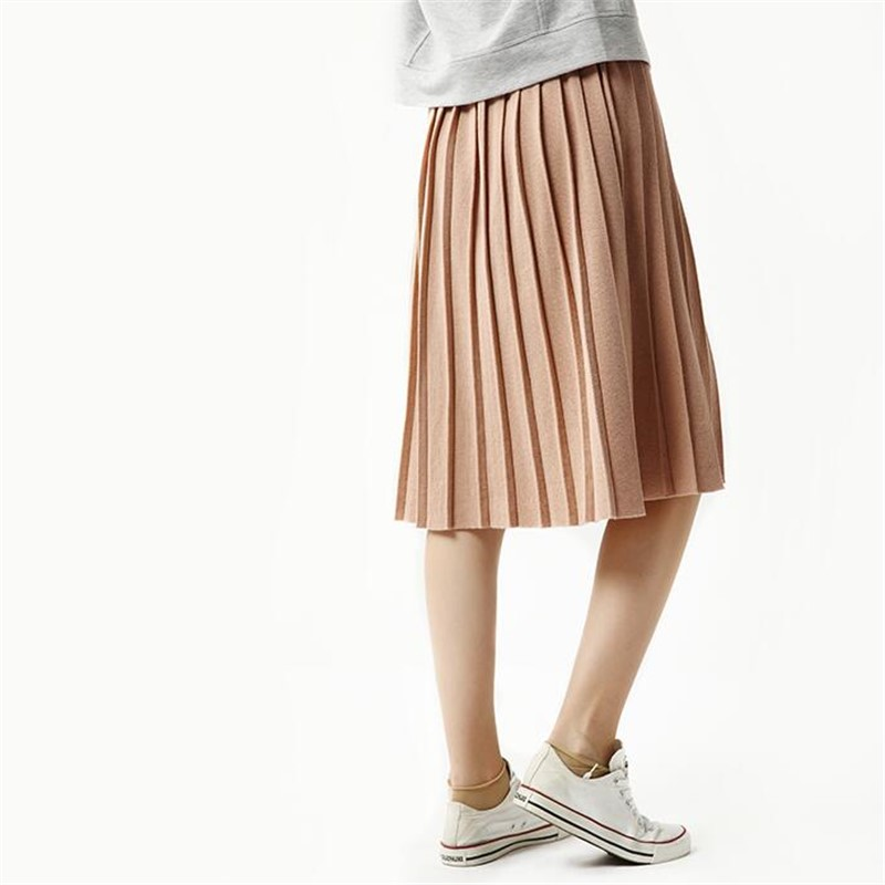 974116614e Thread Pleated Skirt Woman Winter Knit Skirt Long Section Wool Skirts  Autumn Casual Skirt Female Solid Color Bust Skirts 5SA21-in Skirts from  Women's ...