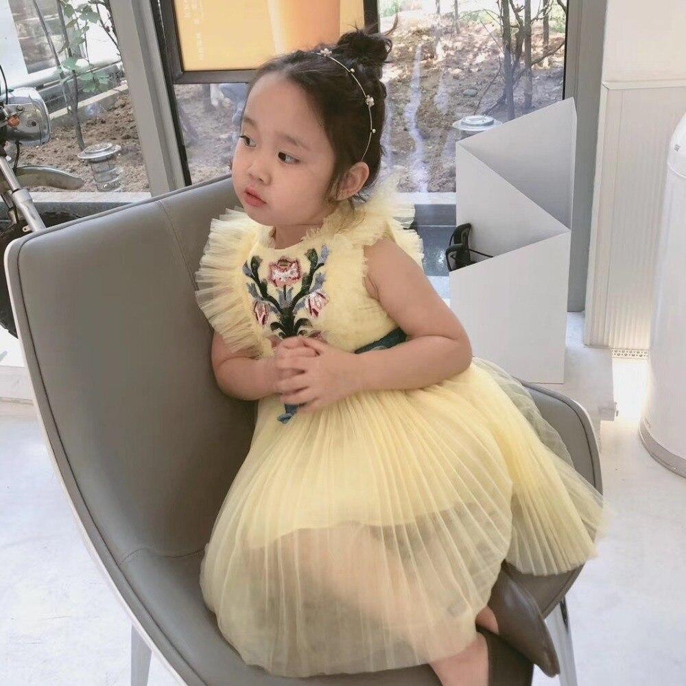 2019 été fleur broderie bébé filles vêtements jaune sans manches maille robe Boutique robe pour filles vêtements - 5